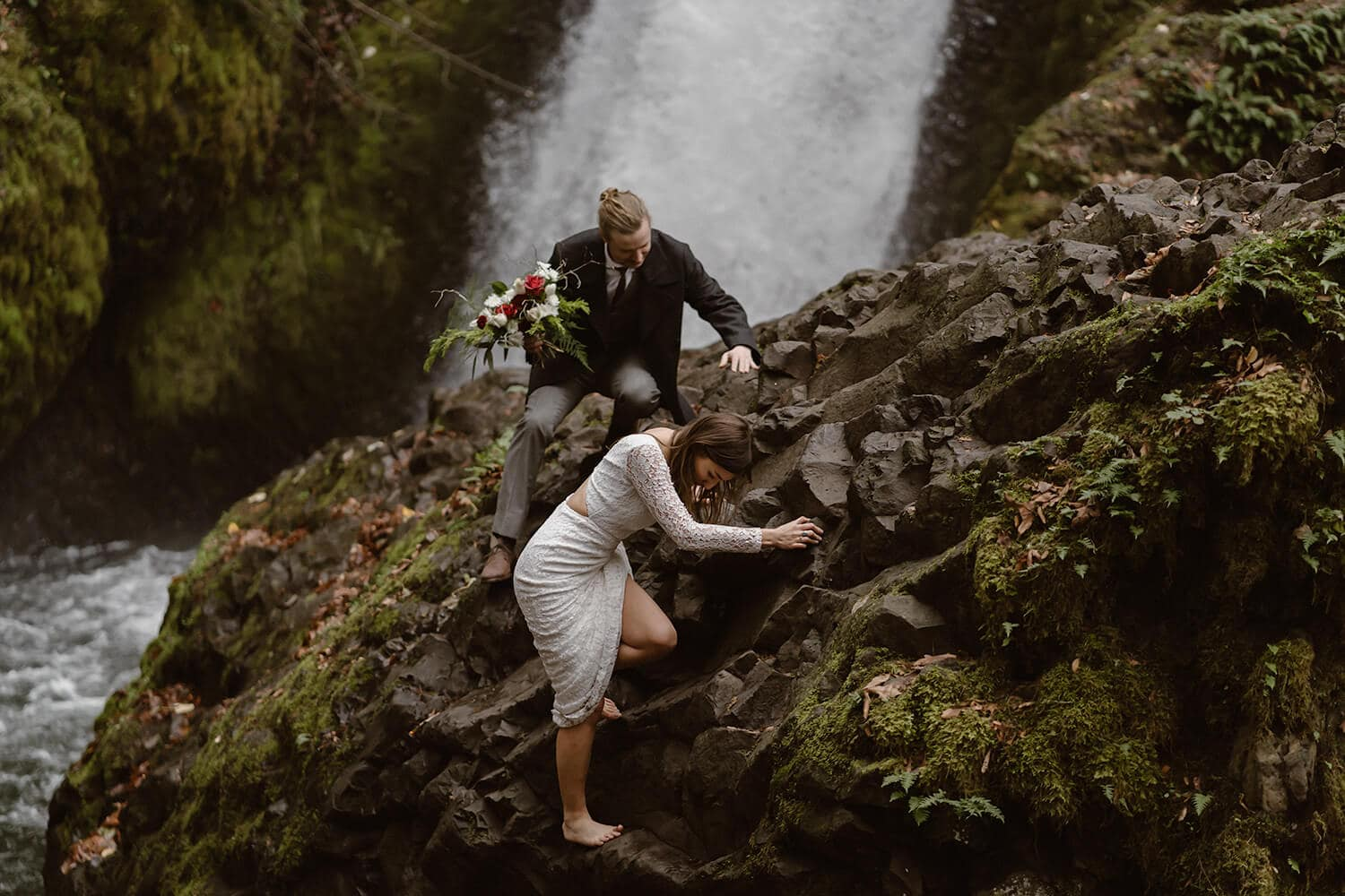 Oregon Bride and Groom Hiking Oregon Adventurous Waterfall elopement