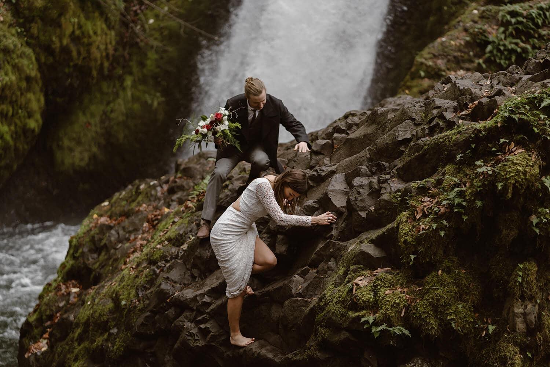 Oregon Bride and Groom Hiking Oregon Adventurous Waterfall elopement