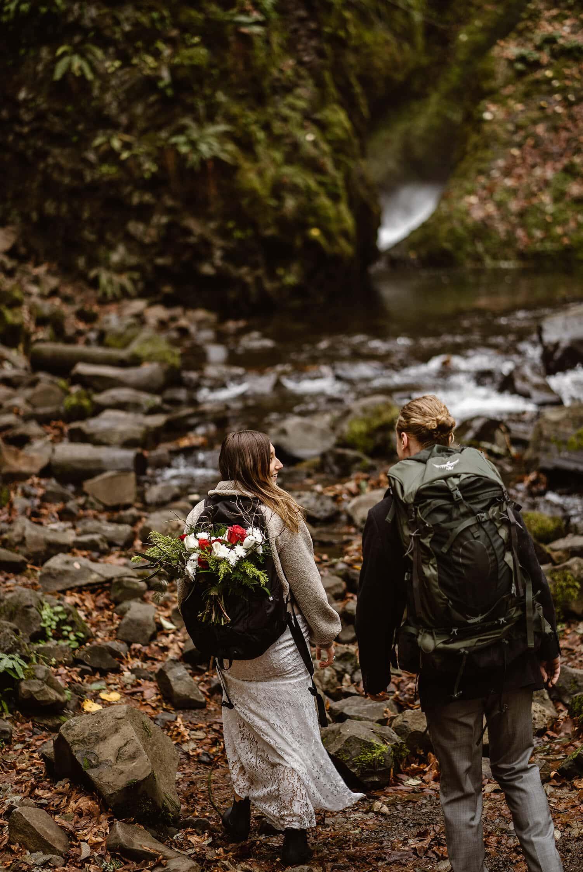 Husband and Wife Backpacking Oregon Adventurous Waterfall elopement