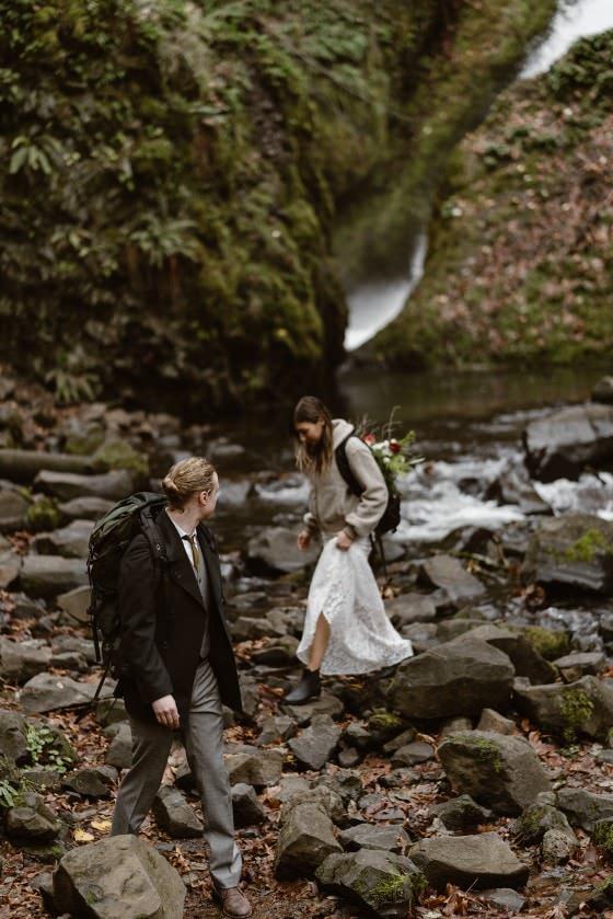 Washington Portland waterfall elopement from Colorado elopement photographer