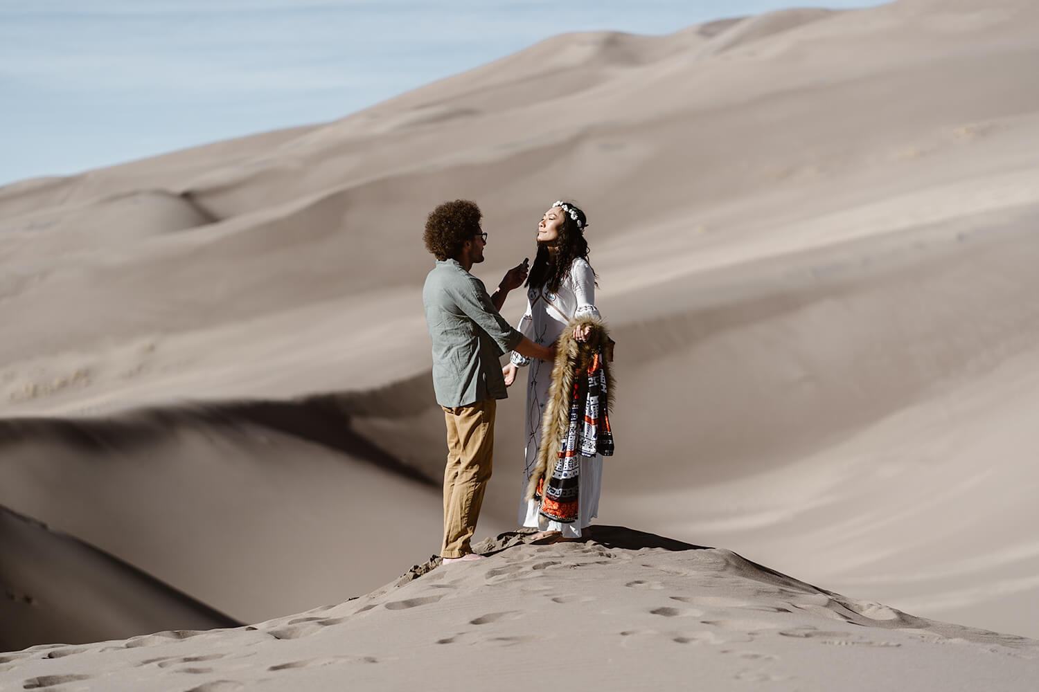 Bride and Groom Sage Ceremony at Colorado Great Sand Dunes Elopement