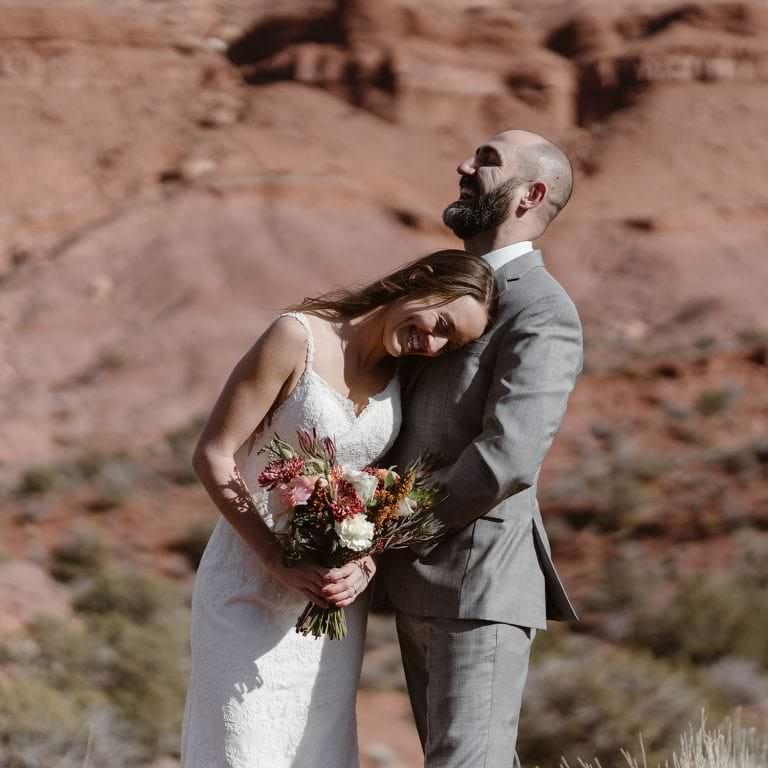 Moab Utah Elopement Bride and Groom