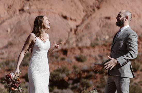 Moab Utah Bride and Groom Desert Elopement