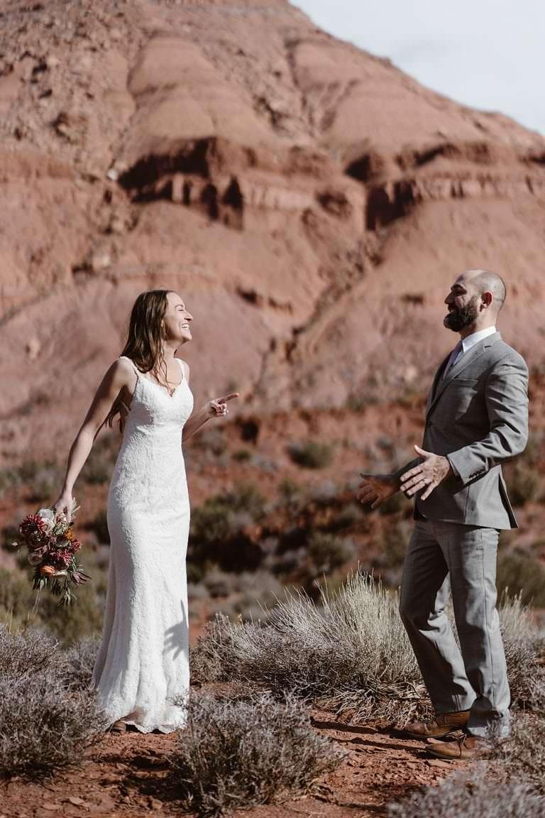 Moab Utah Bride and Groom Desert Elopement