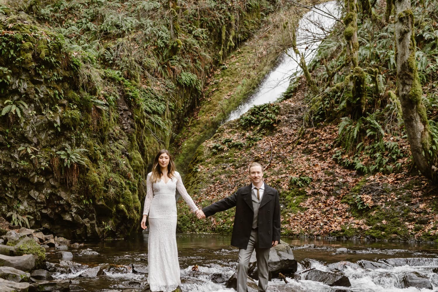 Bride and Groom Oregon Adventurous Waterfall elopement