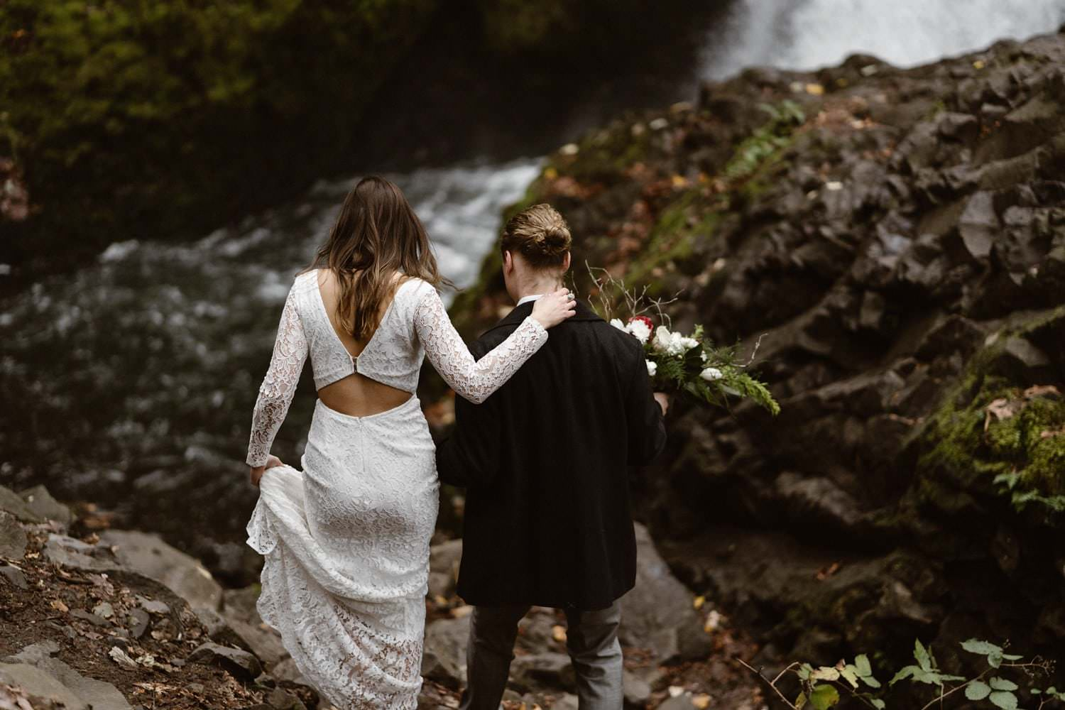 Bride and Groom Hiking Oregon Adventurous Waterfall elopement