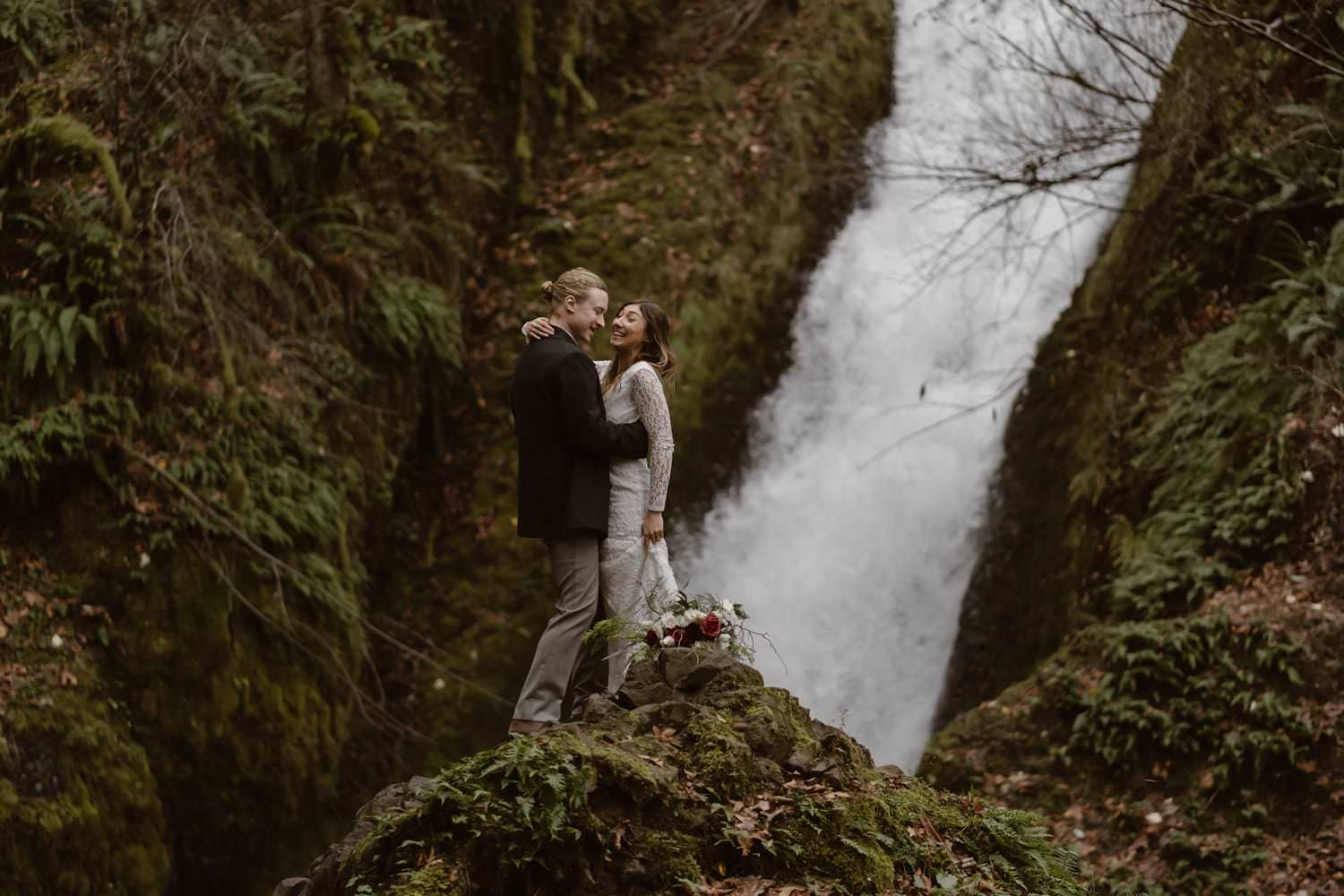 Bride and groom Laughing Waterfall Elopement Oregon