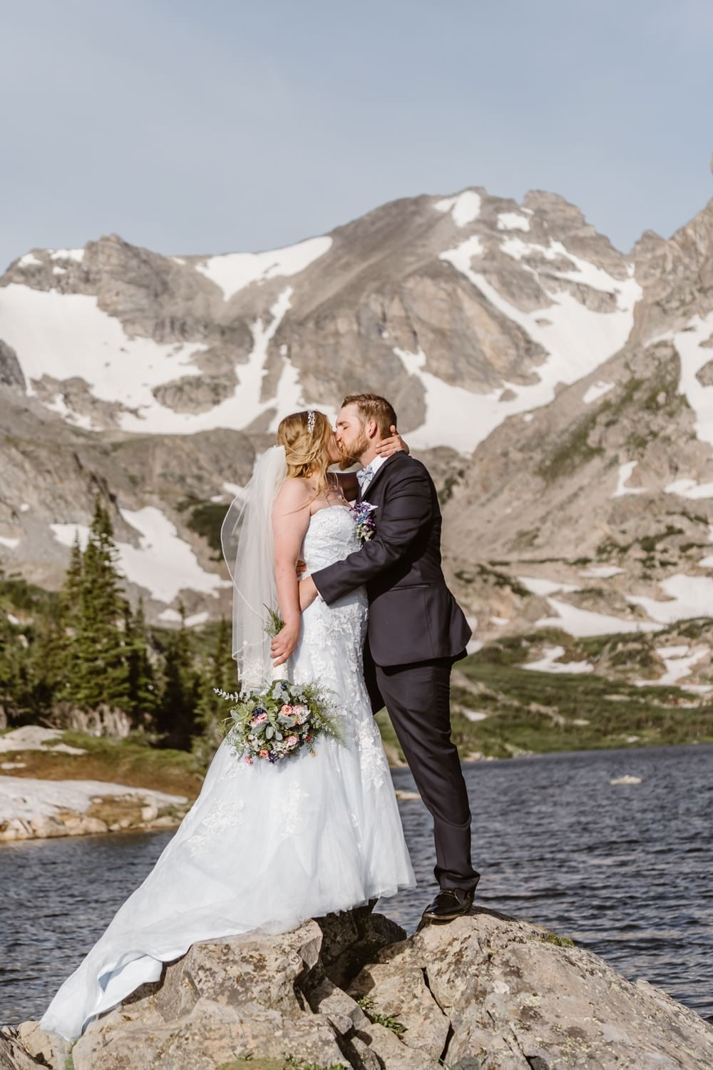 Bride and Groom Kissing at Colorado Adventure Elopement