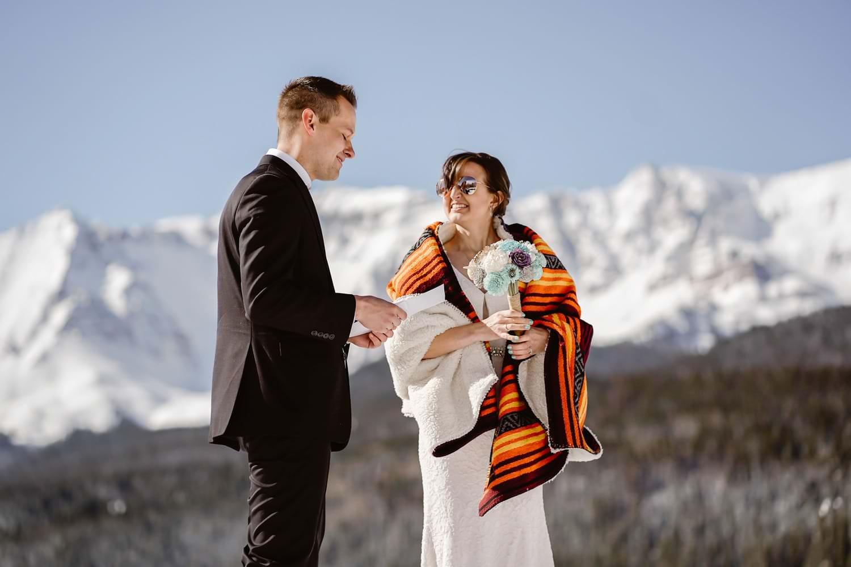 Bride and Groom Vow Exchange in Telluride Elopement