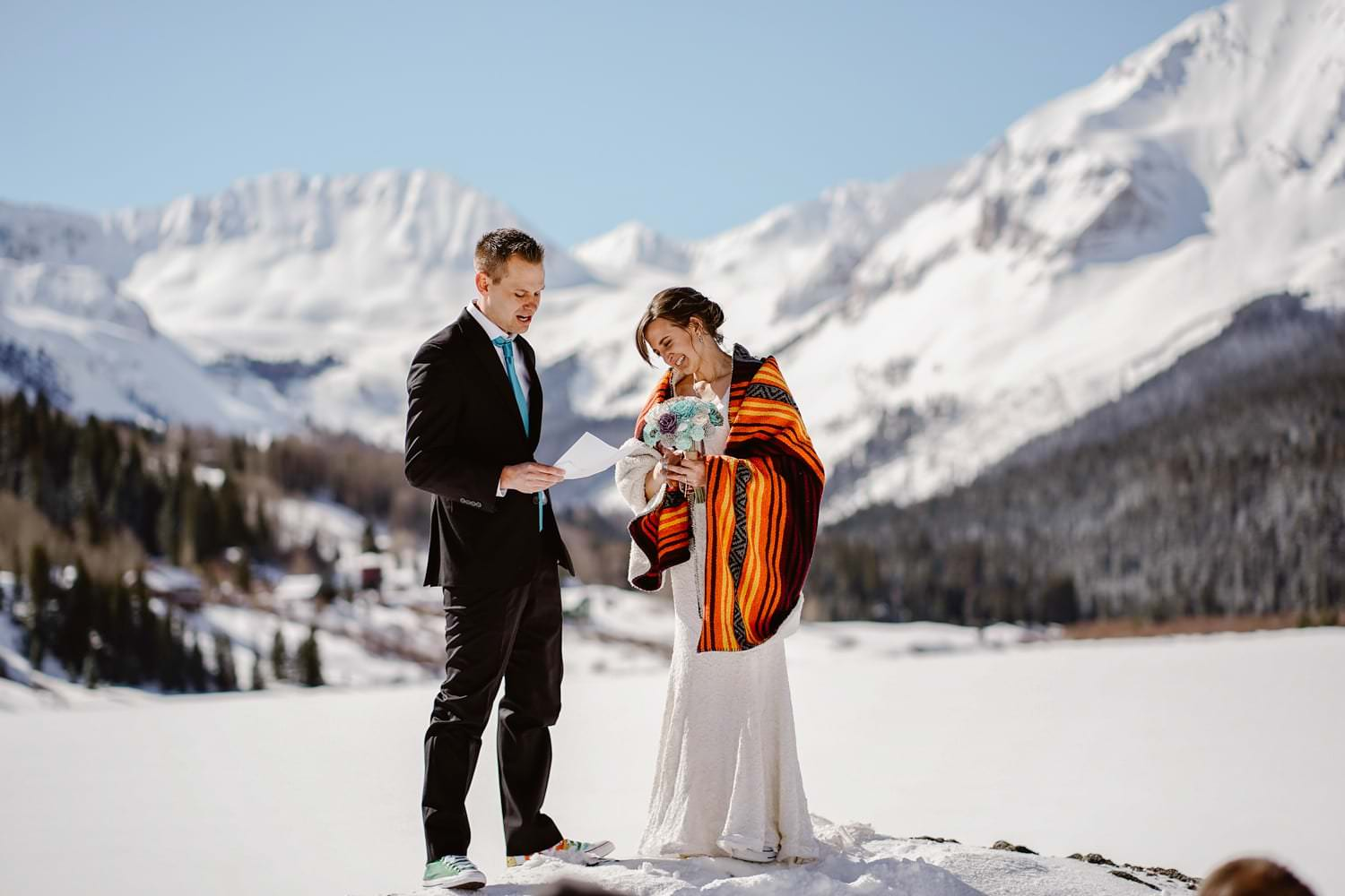Bride and Groom vow ceremony Telluride Elopement