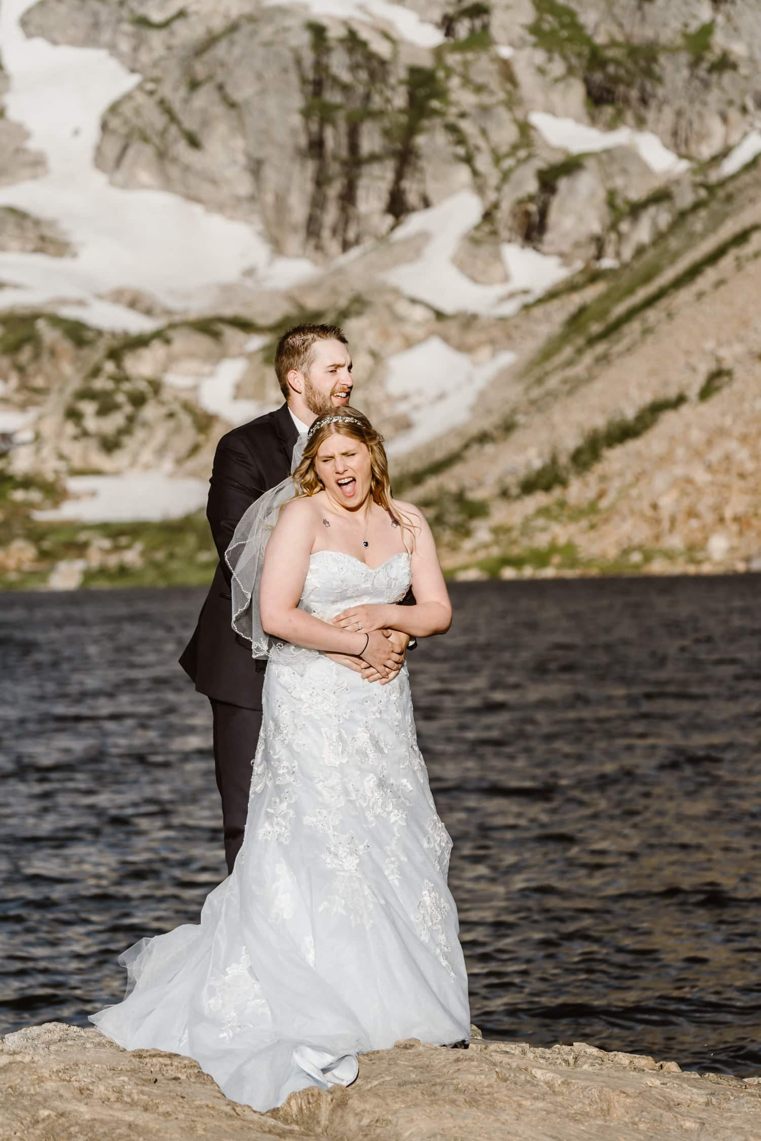 Bride and Groom Laughing at Colorado Adventure Elopement