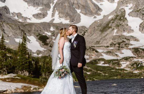 Bride and Groom Colorado Sunrise Mountain Elopement