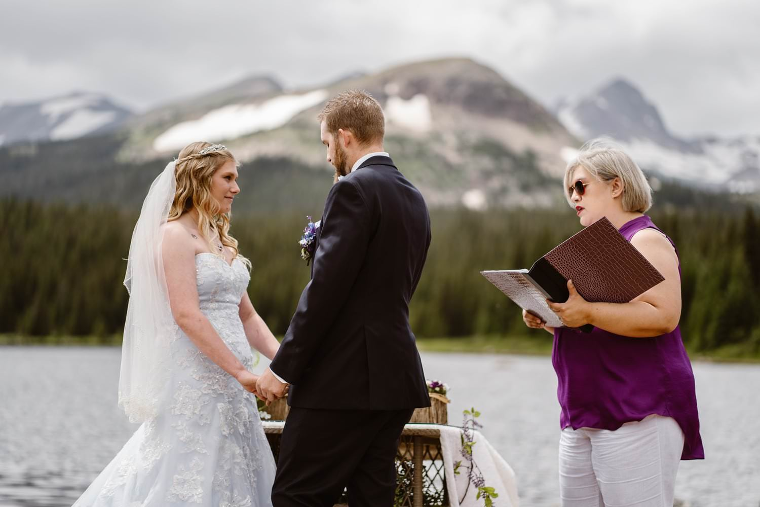 Bride and Groom at Vow Ceremony at  Colorado Adventure Elopement