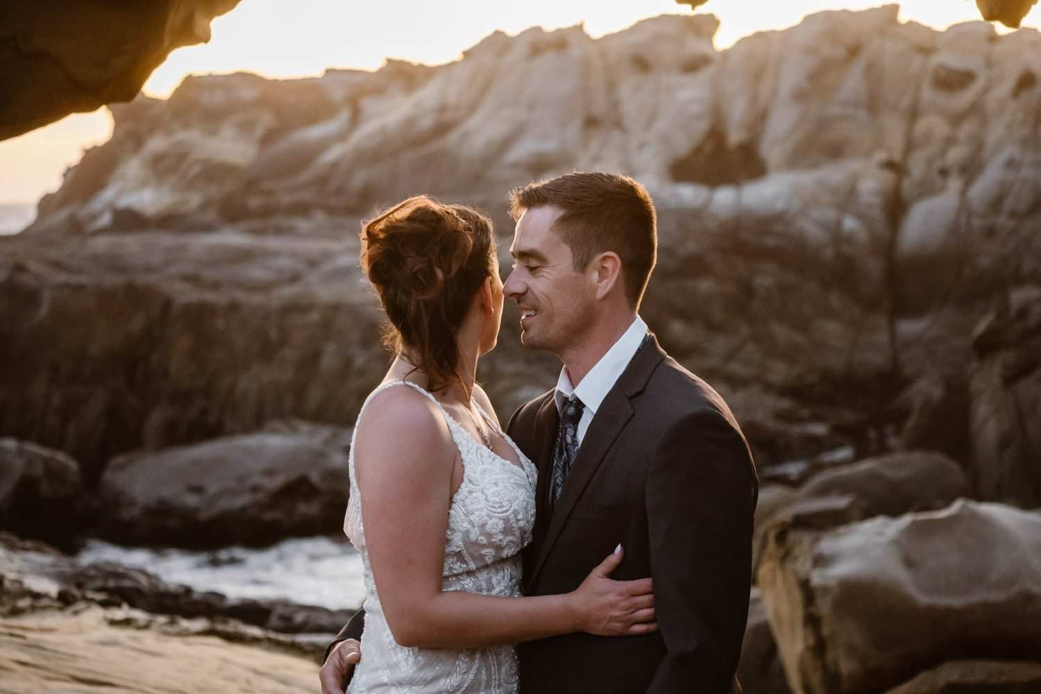 Bride and Groom at sunset for Big Sur Elopement