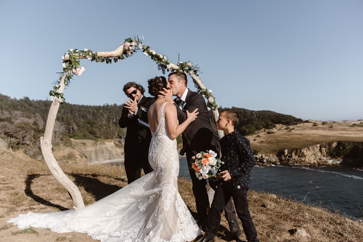First Kiss at Big Sur Elopement