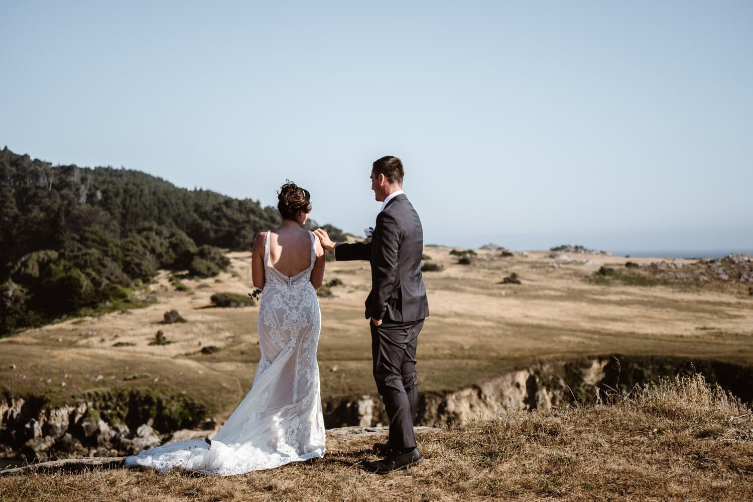 Bride and groom at first look in Big Sur Elopement