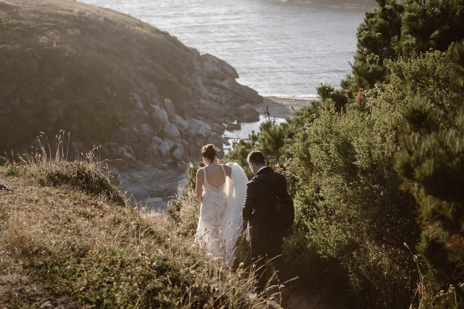 Bride and Groom Hiking at Big Sur Elopement