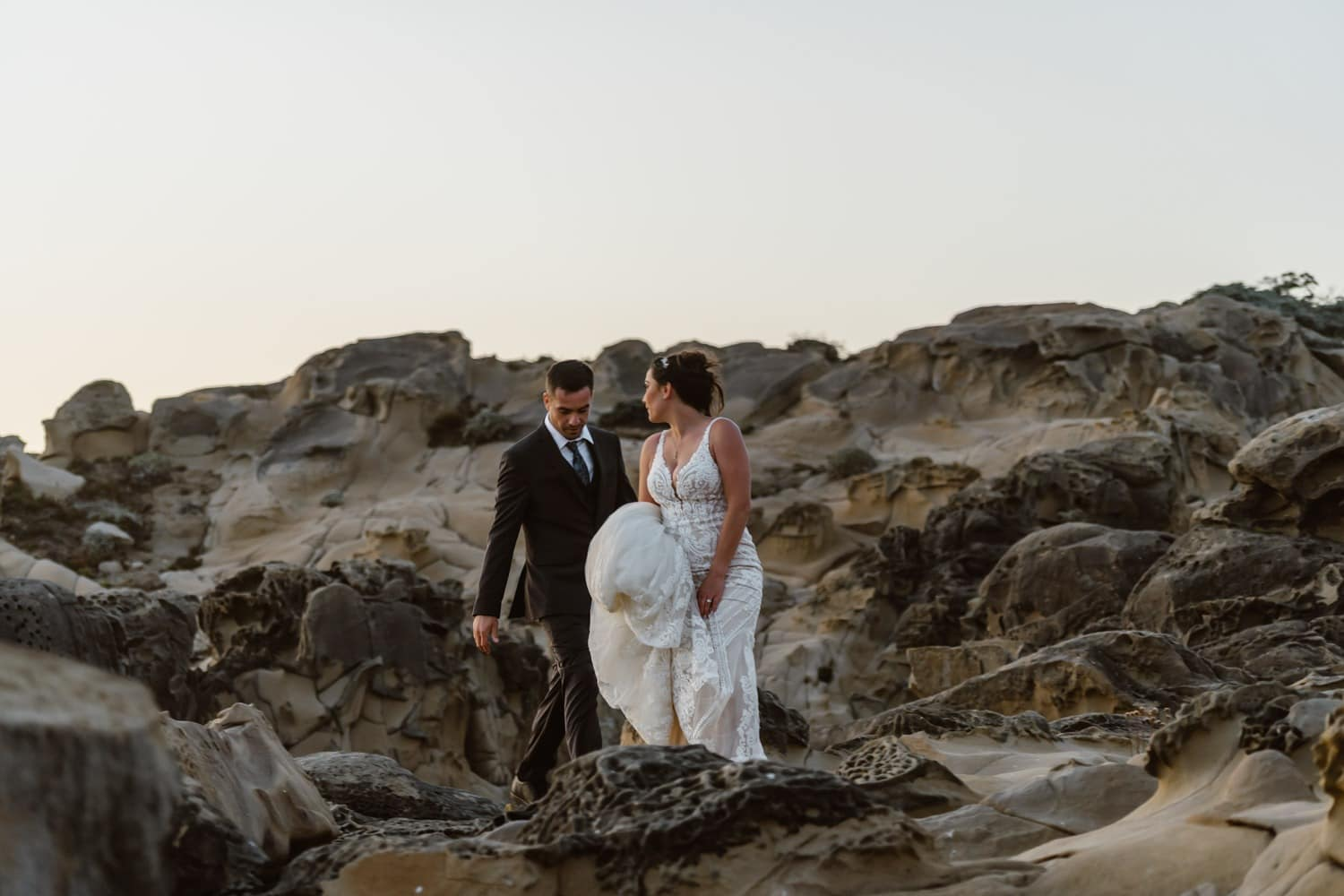 Bride hiking at Big Sur Elopement