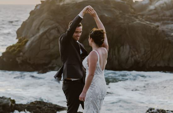 Dancing Big Sur Sunset Elopement