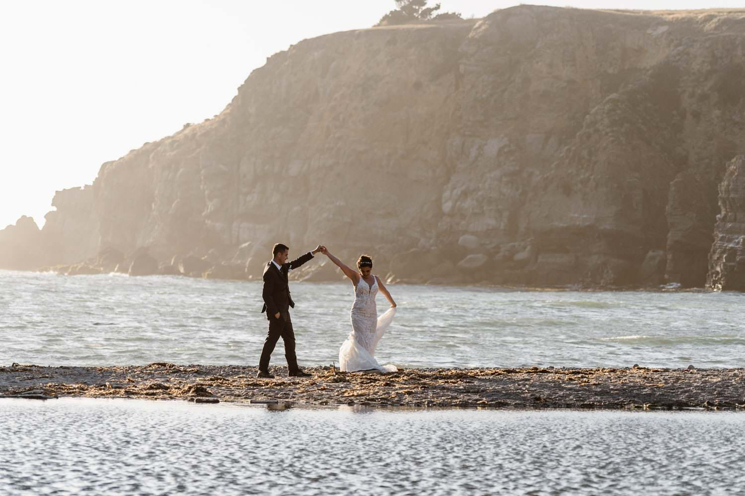 Bride and Groom Dancing at Big Sur Elopement