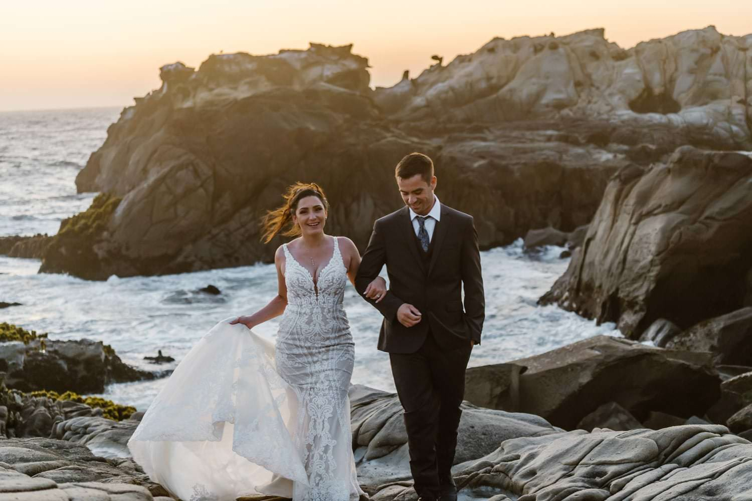 Bride and Groom at Big Sur Elopement