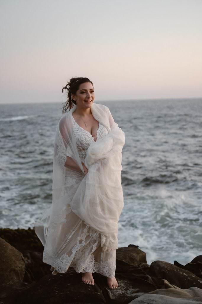 Bride Big Sur Sunset Elopement