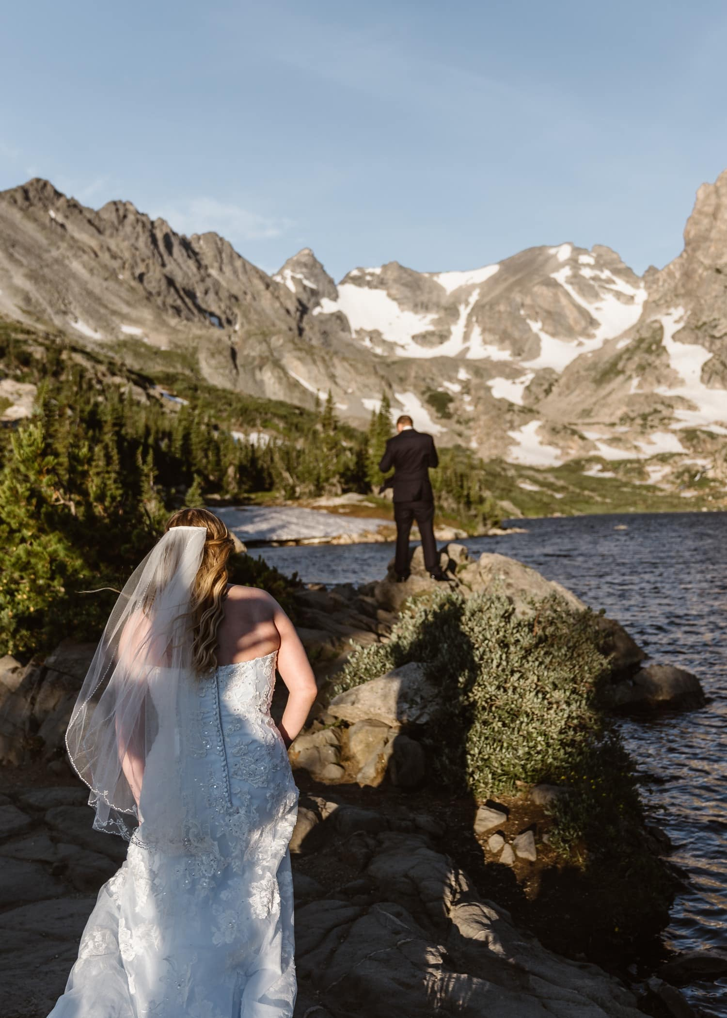 Bride and Groom First Look at Colorado Adventure Elopement