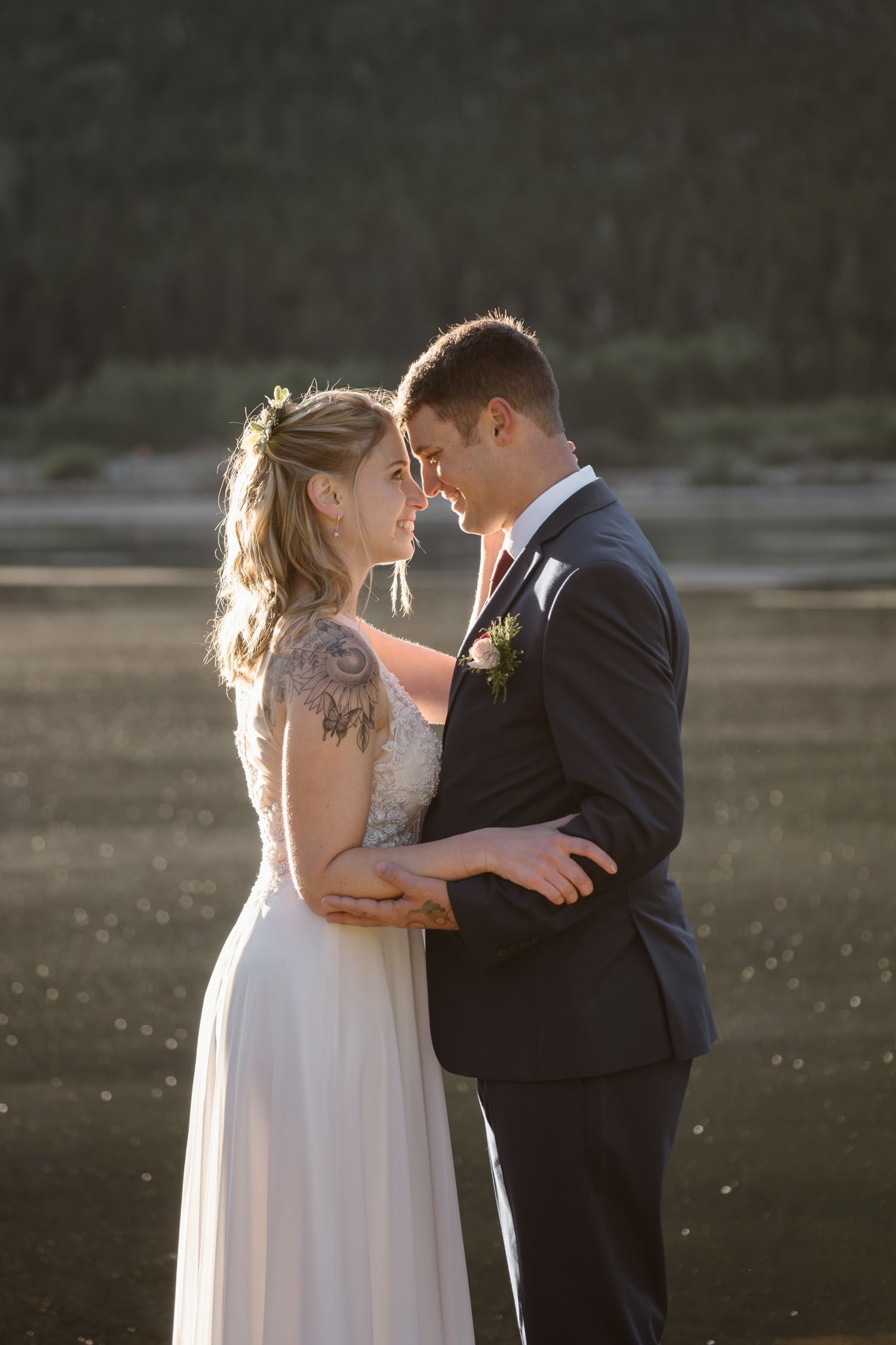 Kissing Rocky Mountain National Park Elopement