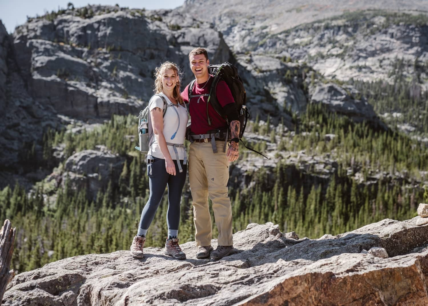 Bride and Groom Hiking at Rocky Mountain National Park Elopement