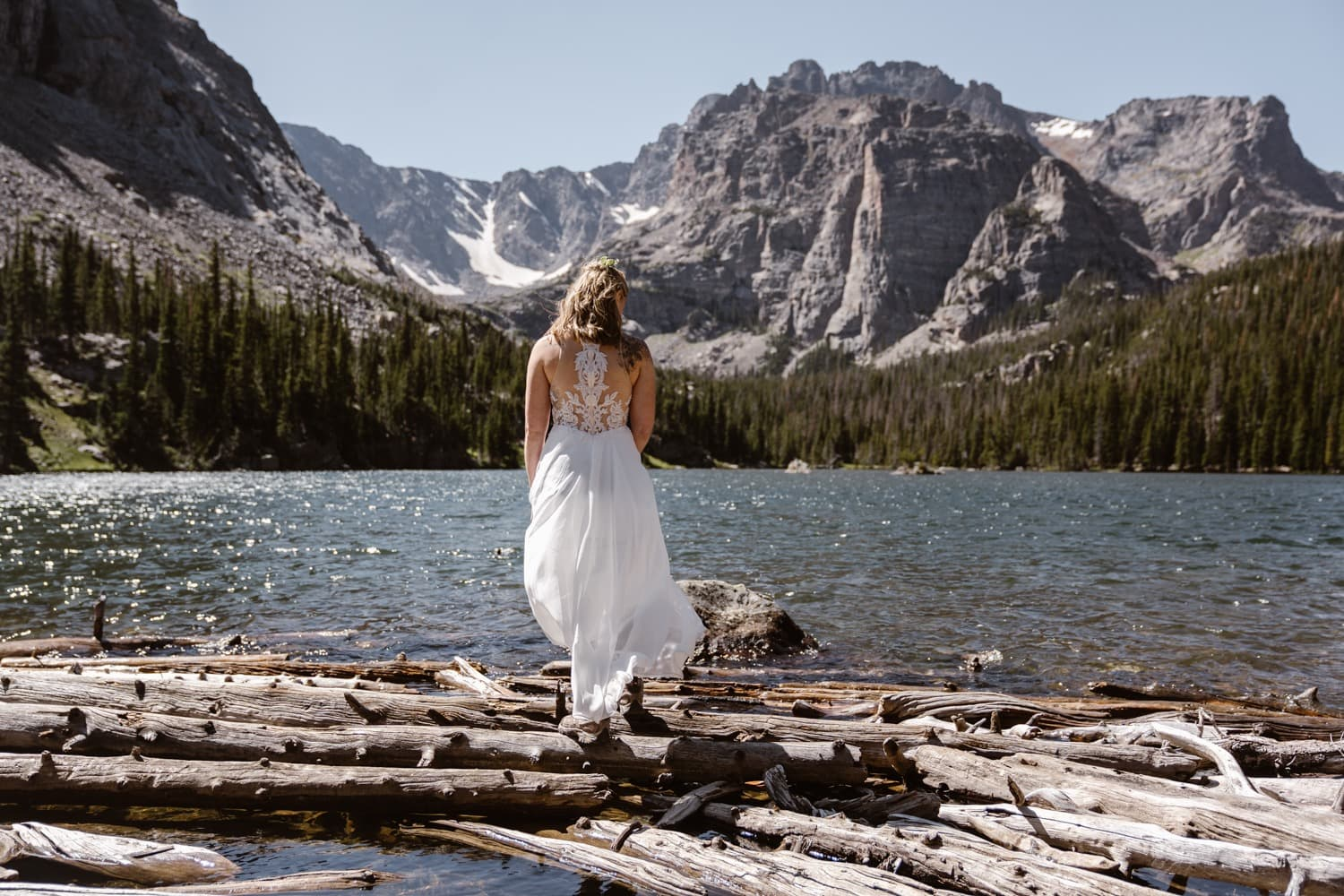 Rocky Mountain National Park Elopement Wedding Dress