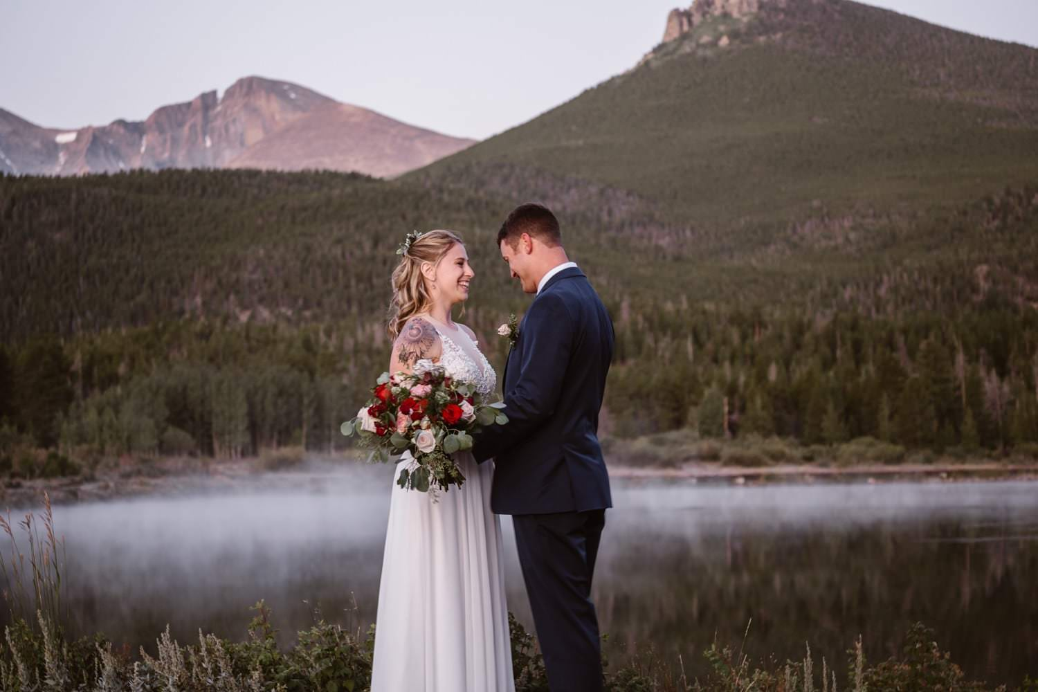 First look Lily Lake Rocky Mountain National Park Elopement