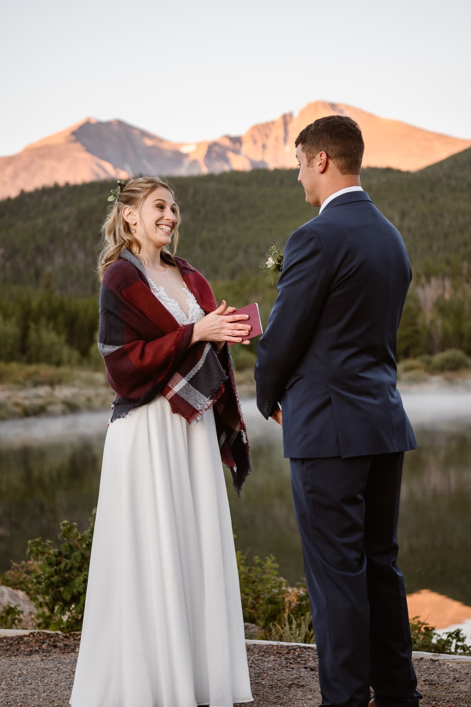 Vow Ceremony Lily Lake Rocky Mountain National Park Elopement