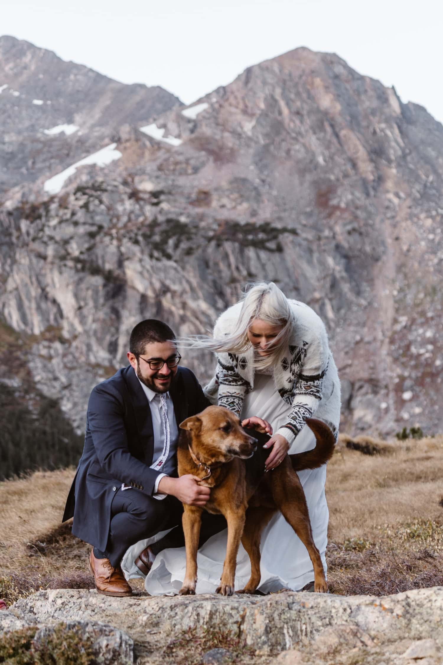 Bride and Groom with Dog on  Colorado Photographer Hiking Adventure Elopement