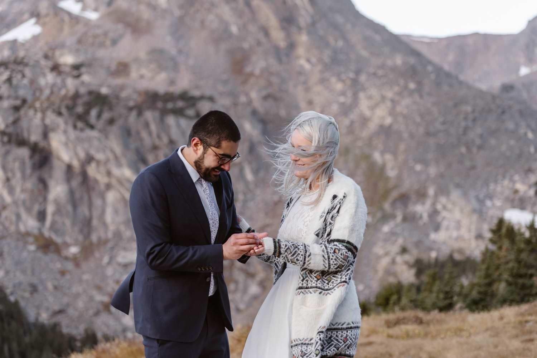 Ring Exchange at Self Solemnizing Elopement near Boulder, Colorado