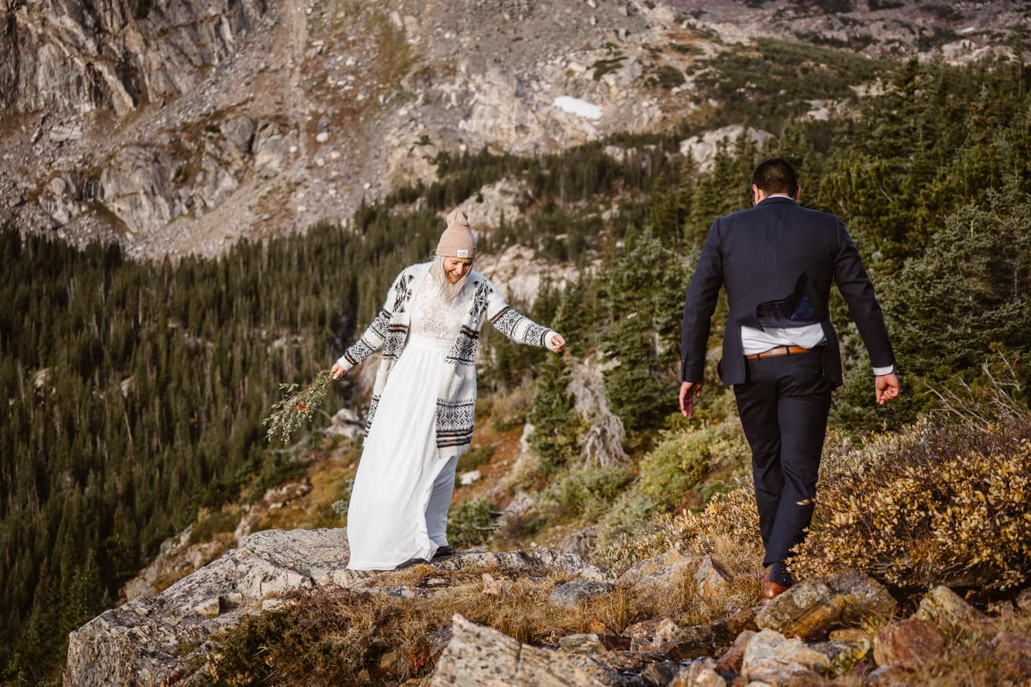 Bride and Groom Hiking at Self Solemnizing Elopement near Boulder, Colorado