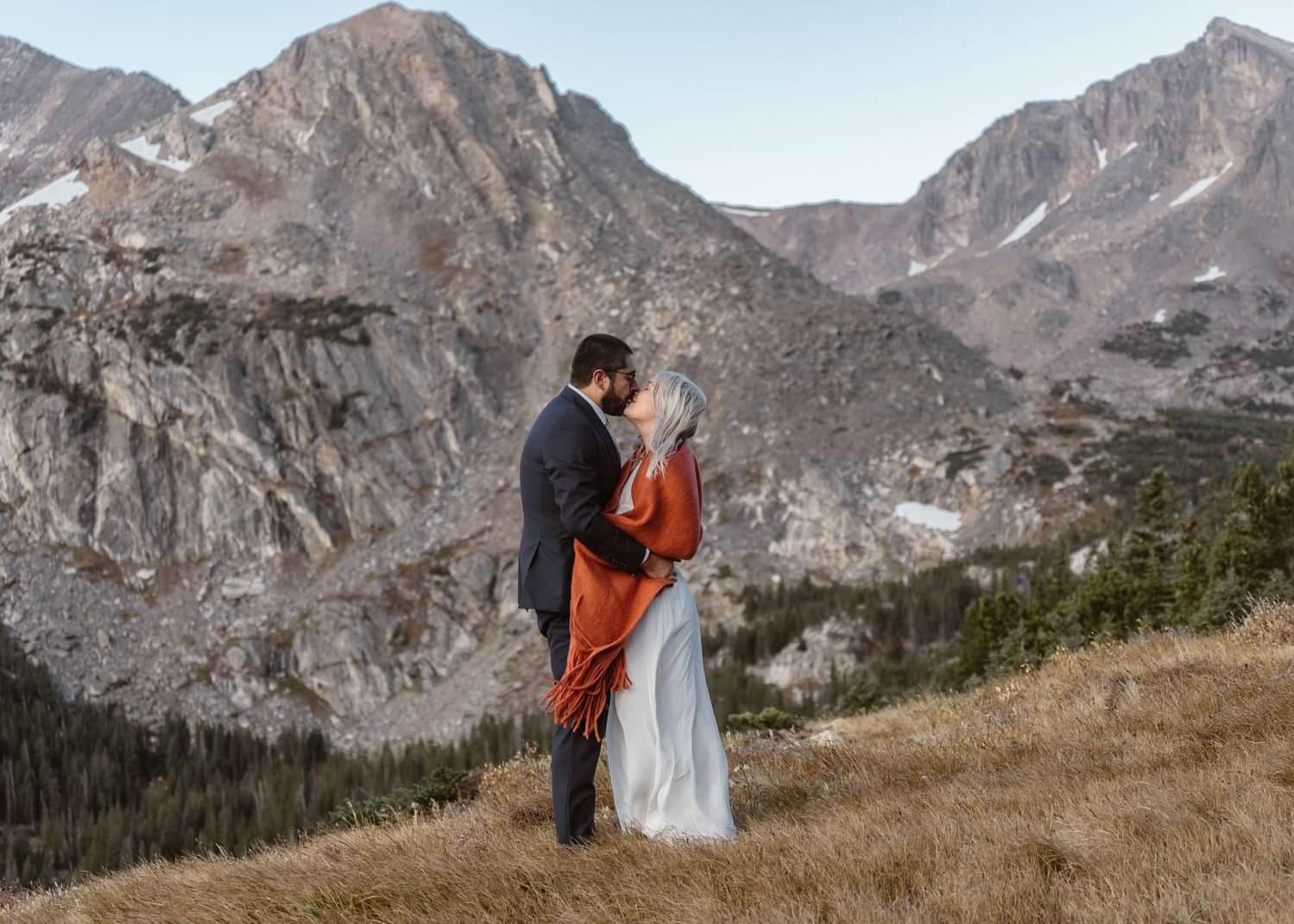 Couple Kissing at Self Solemnizing Elopement near Boulder, Colorado
