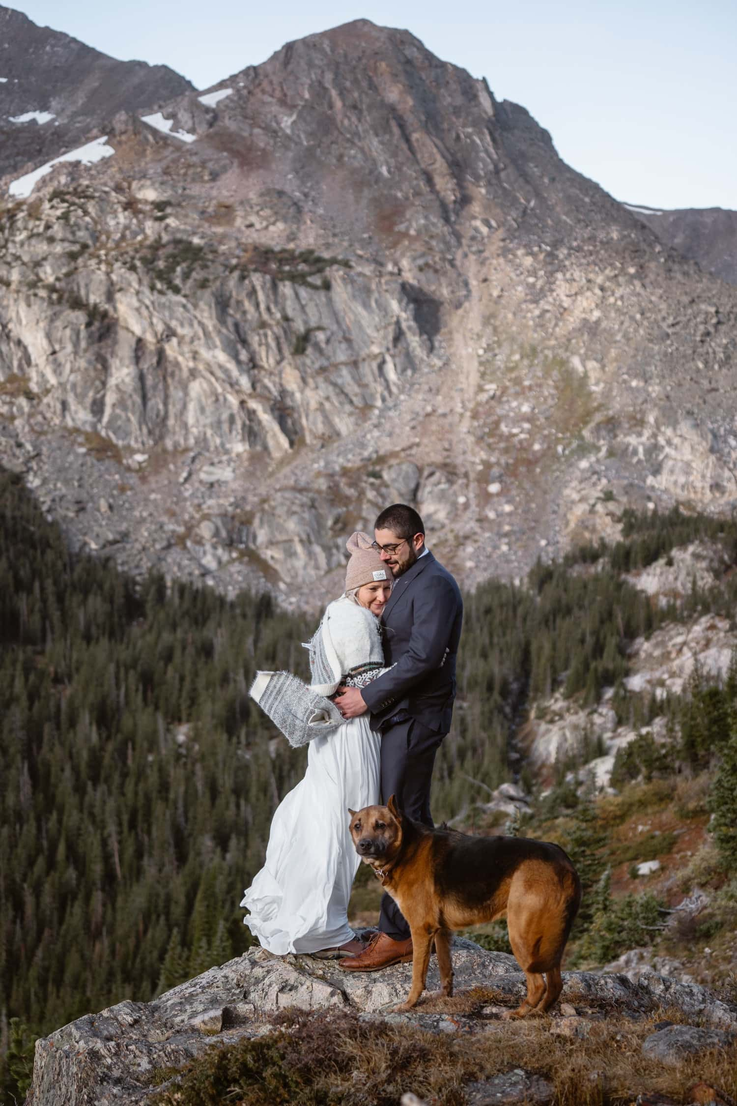 Bride and Groom Colorado Hiking Elopement