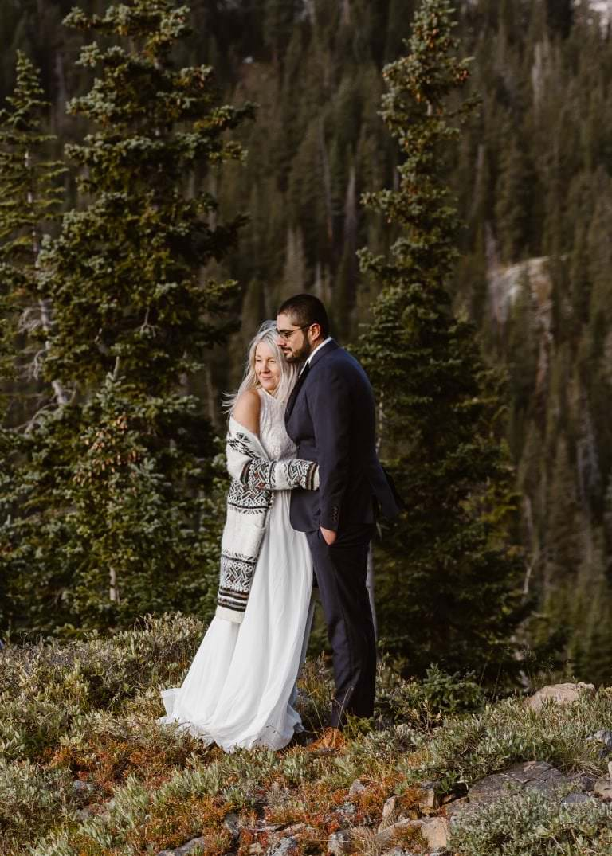 Bride and Groom Colorado Hiking Elopement
