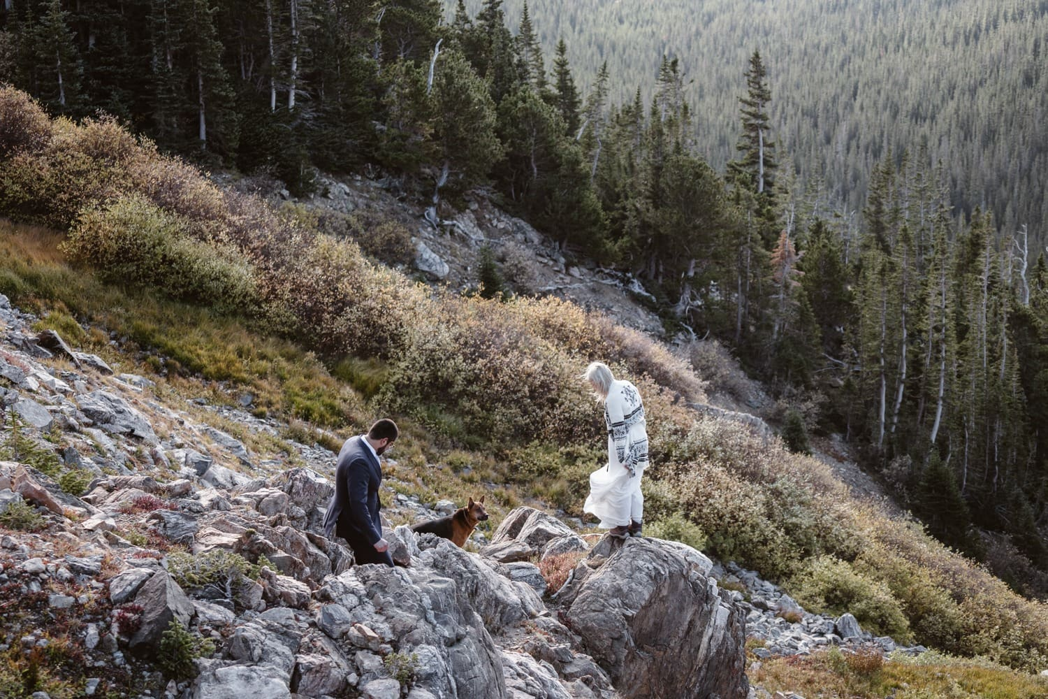 Bride and Groom Hiking Colorado Photographer Hiking Adventure Elopement