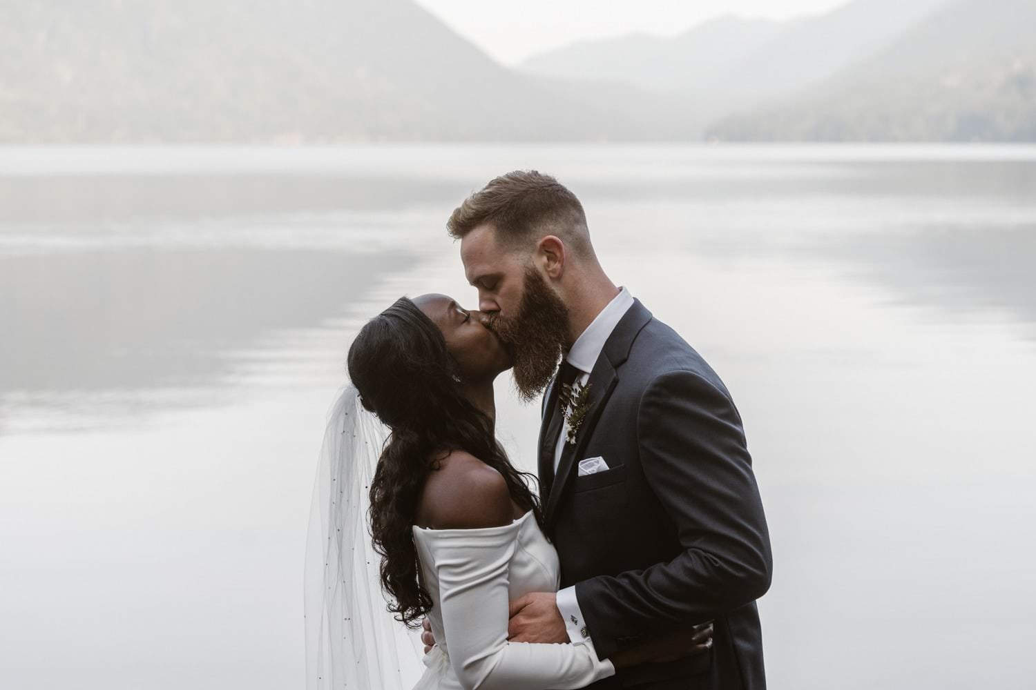 First Kiss Olympic National Park Elopement