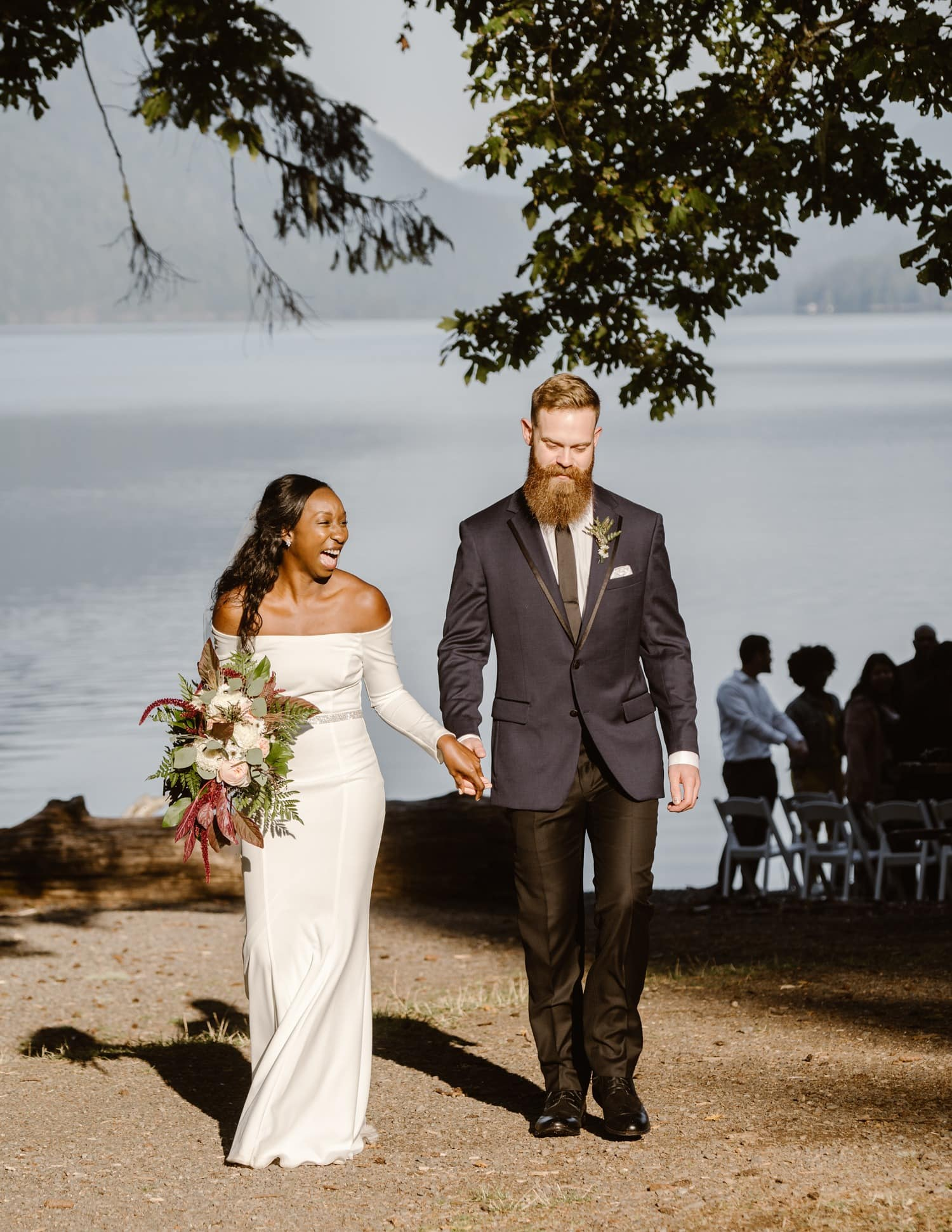 Happy bride and groom Olympic National Park Elopement
