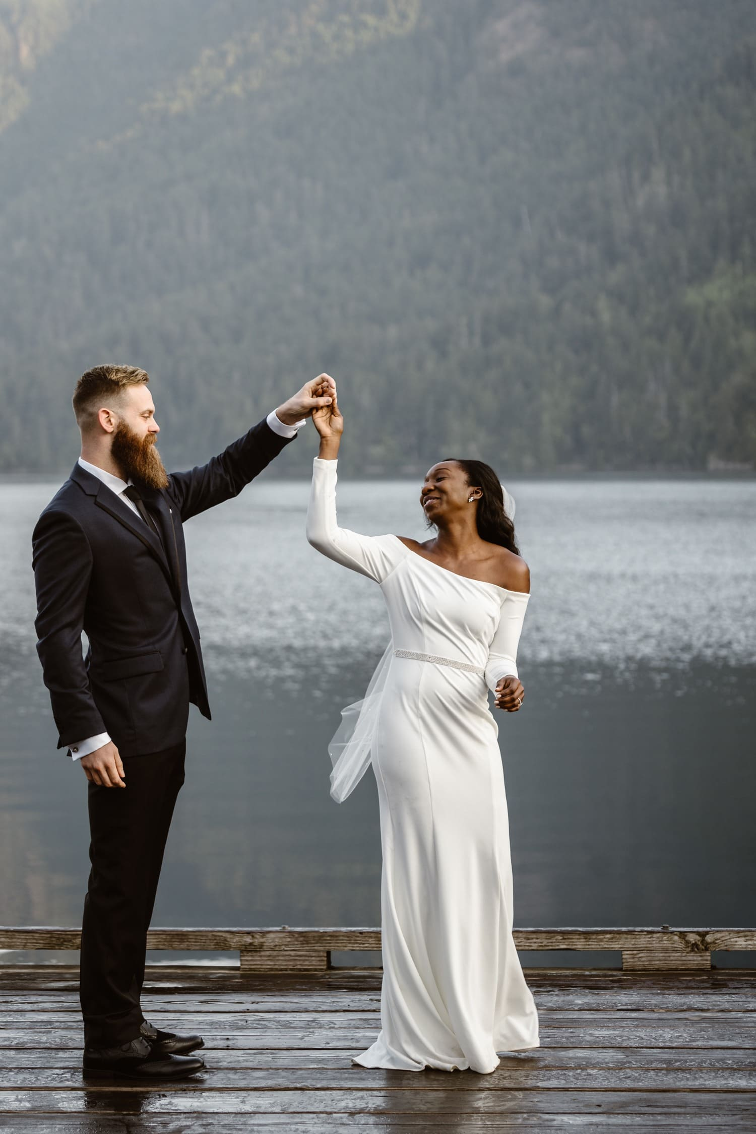 Dancing at Lake Crescent Olympic National Park Elopement