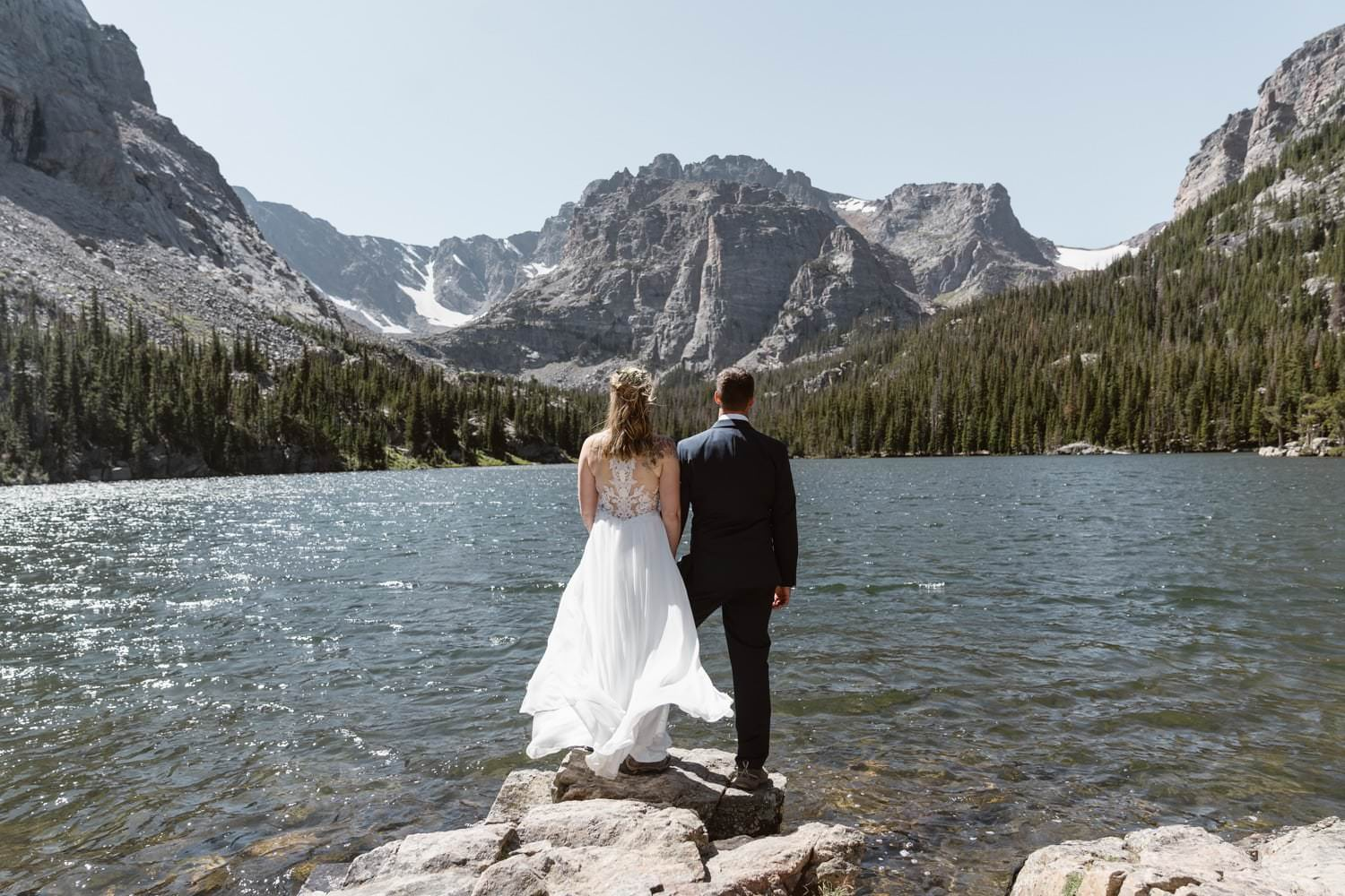 Bride and Groom Rocky Mountain National Park Elopement