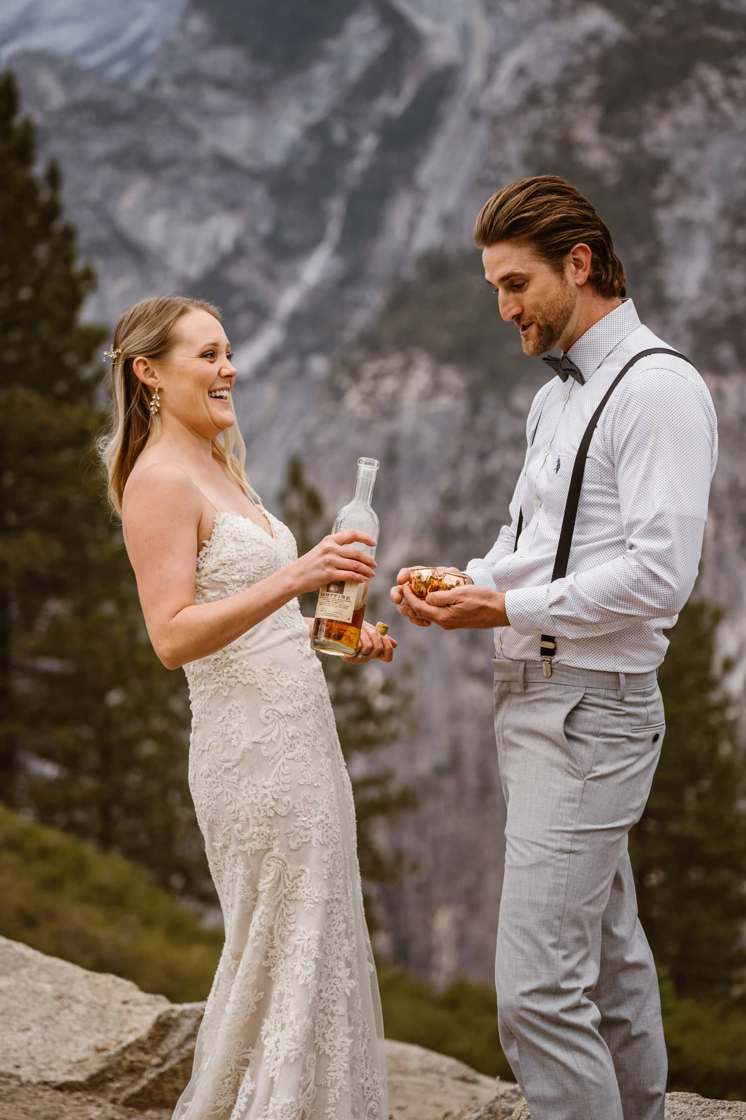 Bride and Groom Drinking Whiskey at Glacier Point Yosemite Elopement