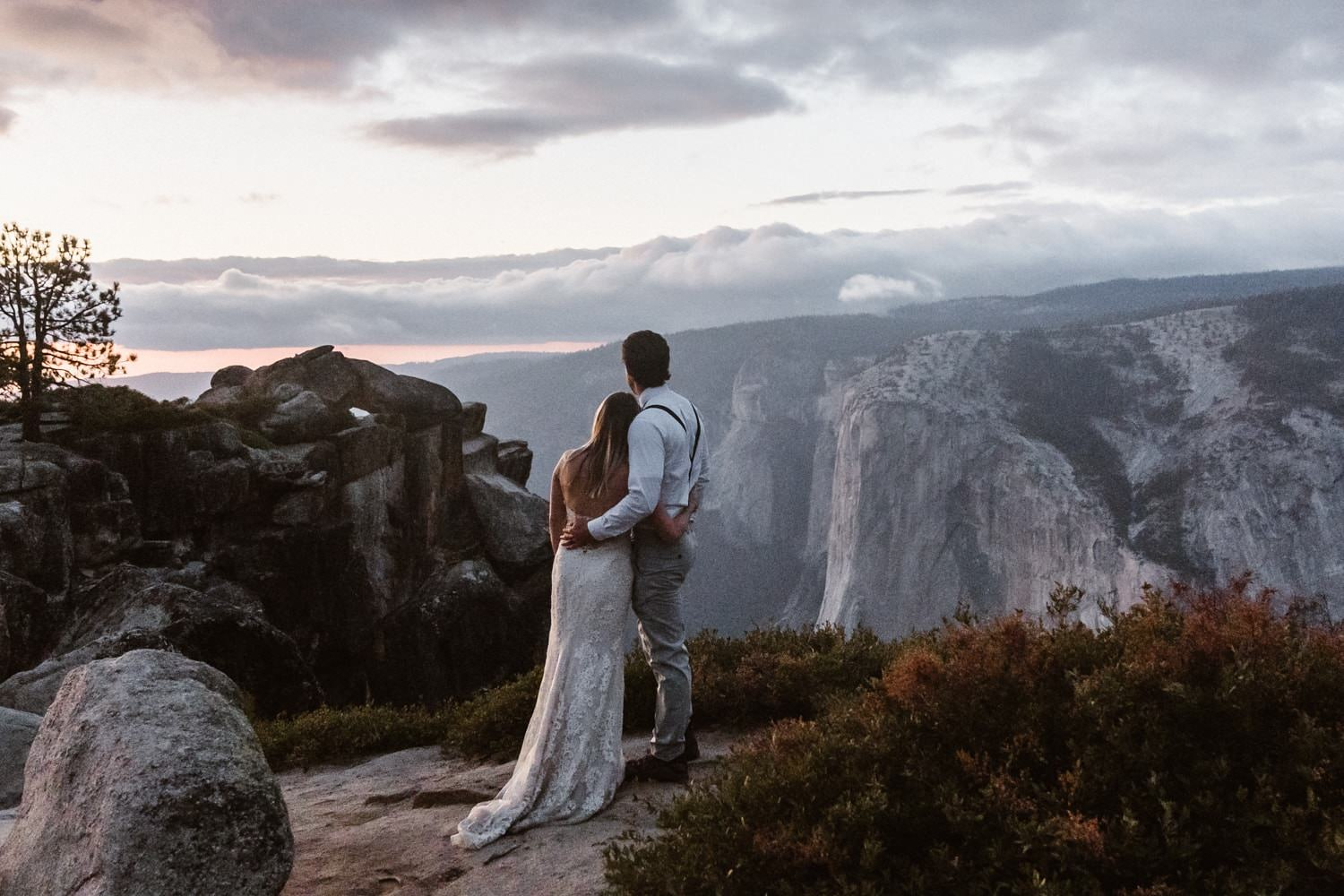 Bride and Groom at Taft Point Yosemite Elopement