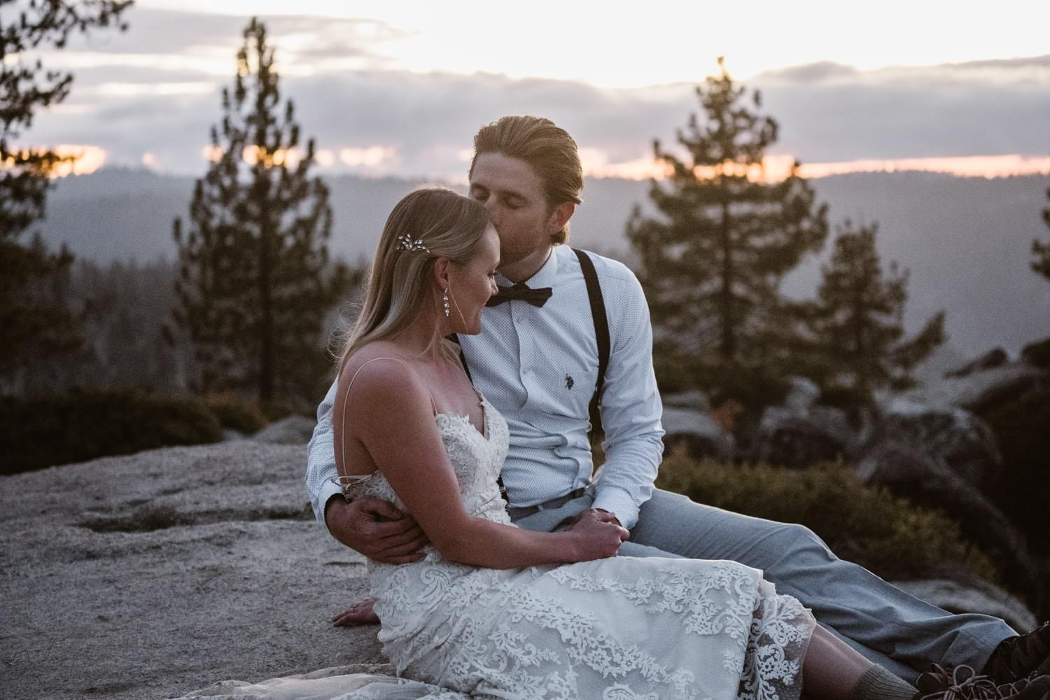Bride and Groom Kissing at Taft Point Yosemite Elopement