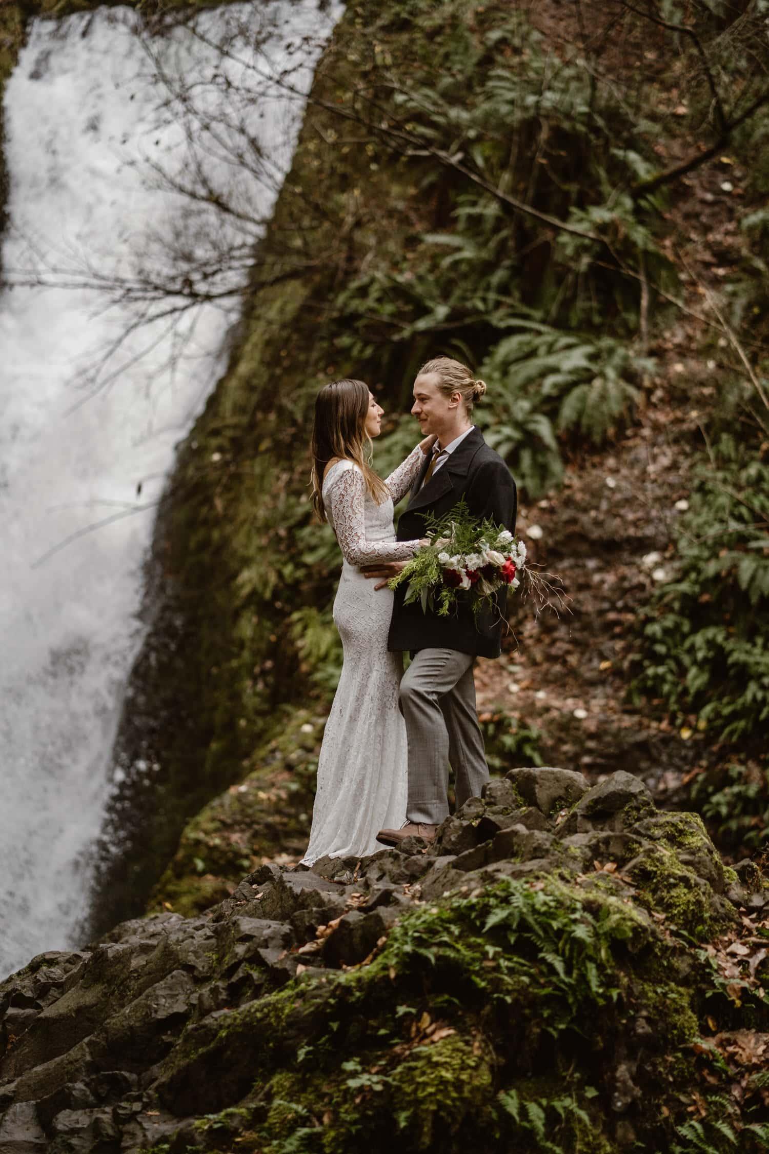 Oregon Bride and Groom Singing Oregon Adventurous Waterfall elopement