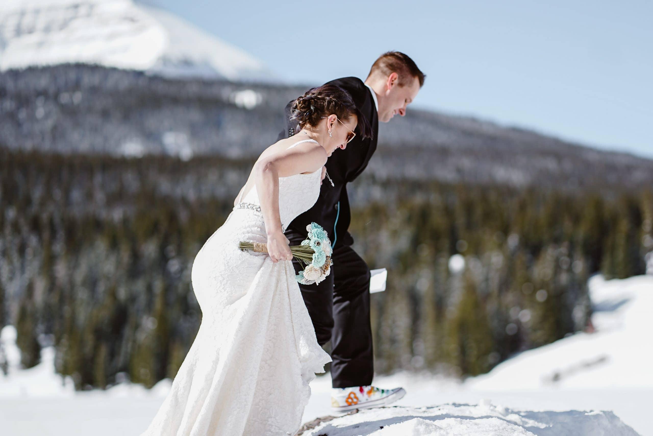 Bride and Groom Hiking Telluride Elopement