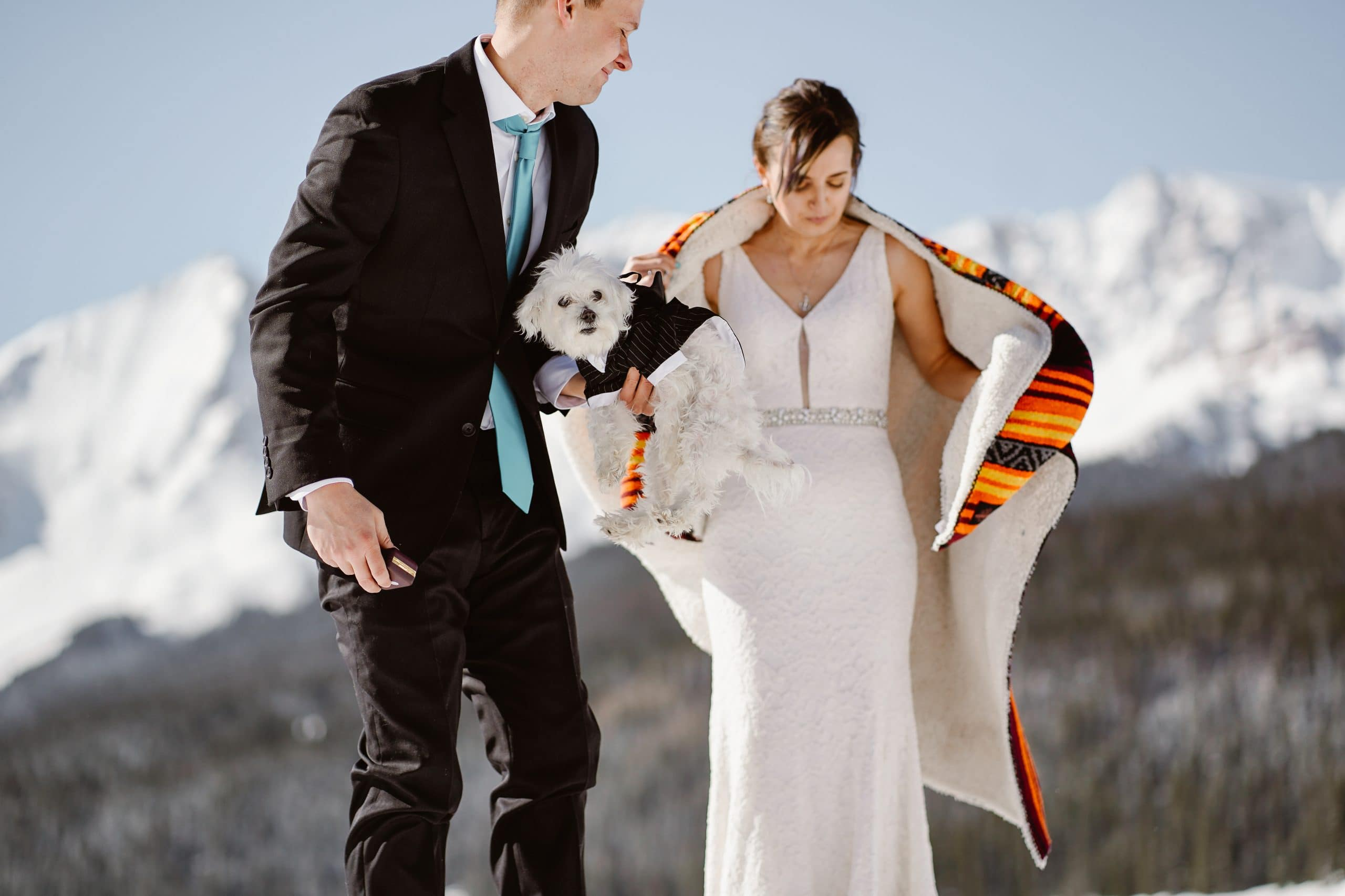 Groom With Dog Telluride Elopement