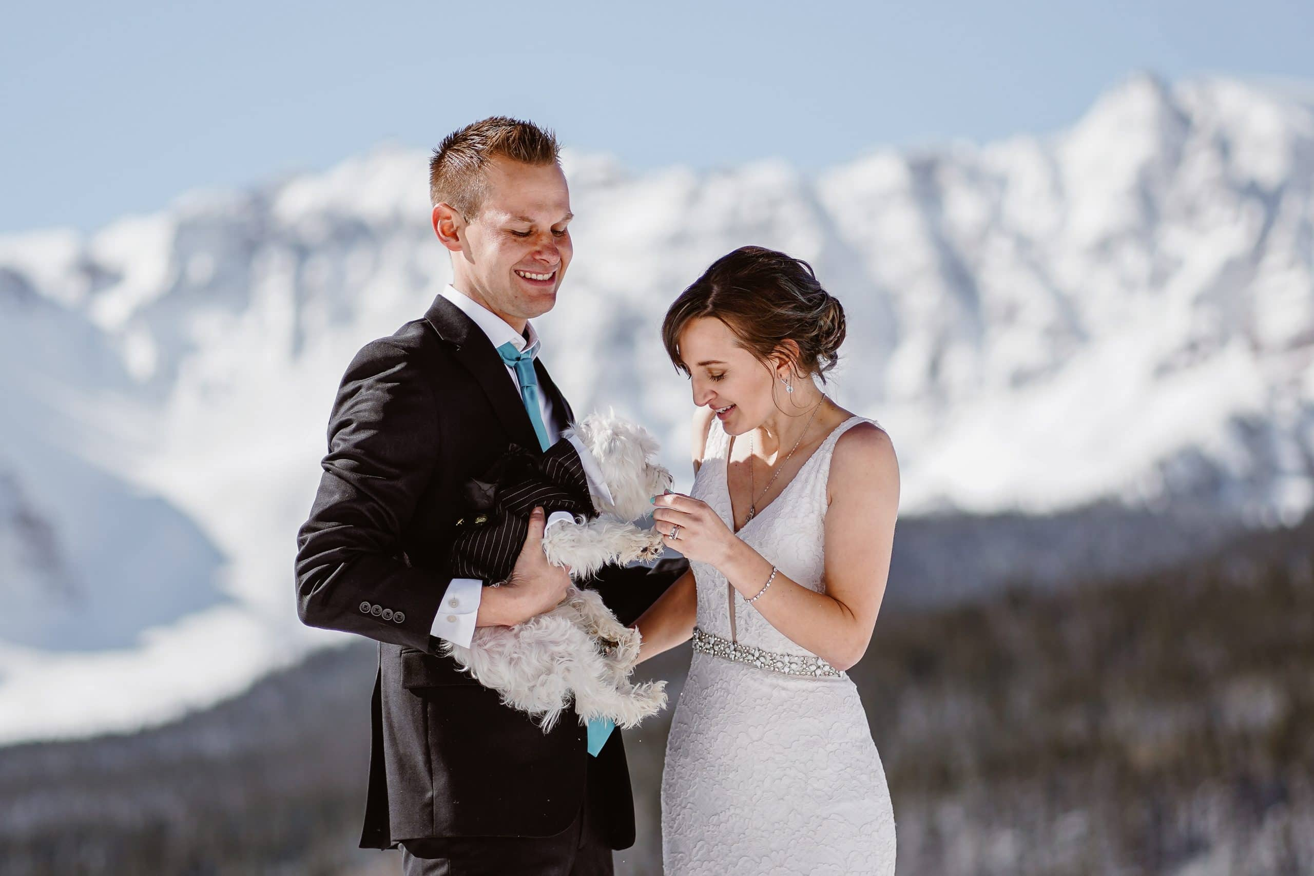 Bride and Groom With Dog Telluride Elopement